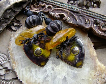 torch fired enamel with amber and carved wood assemblage earrings, mixed media jewelry, boho chic, nature inspired jewelry, AnvilArtifacts