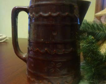 Marcrest Oven Proof Stoneware Daisy Dot chocolate brown Pitcher  (T)