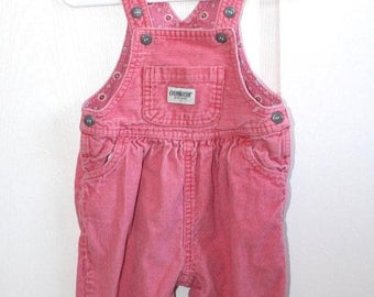 SALE Vintage Pink Corduroy OshKosh Bib Overalls . Baby Girl's Overall Pants Dungarees . Embroidered Flowers Cuffs . Size 12 Months