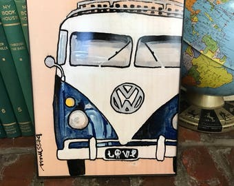 VW bus art print   love   stay rad   cool art   vintage inspired art   indie art   8x10 print   retro inspired art