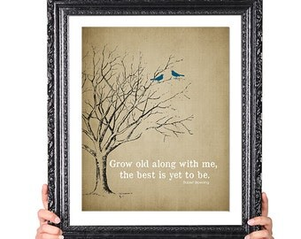 The BEST is yet to be, 50th Wedding Anniversary Gift, 1st Anniversary Gift, Family Tree Print, Birds, Vintage Image, Shabby Chic, Custom