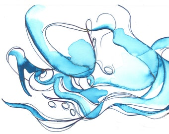 "Octopus Drawing - Deliquescing Octopus - Original Art - 8.5""x5.5"" Ink Drawing in Emerald Green Iridescent Ink"