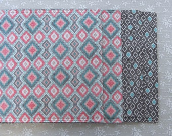 Reversible Placemats Rectangle Placemats Coral Teal Gray Print Set of 4 Ready to Ship
