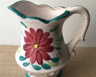 Vintage Pitcher ceramic glass burgundy flower with teal accents Marked Japan