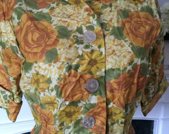 Yellow Rose Polished Cotton 50s Blouse