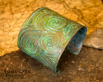 Ancient Nord Aged Etched Spiral Copper Cuff Bracelet