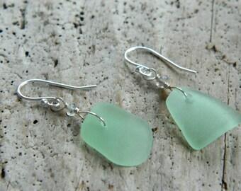 Genuine Sea Foam Sea Glass and Sterling Earrings With Labradorite
