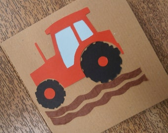 Tractor greetings Card. Individually handmade card for any occasion