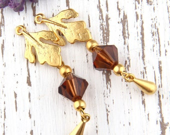 Brown, Bead Dangles, Swarovski Bead Dangles,Earring Bead Dangles, 2 pieces //BD-037