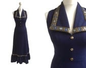 1970's Dress | 70's Maxi Dress | Vintage Dress | Navy Blue With Gold Brocade Long Dress
