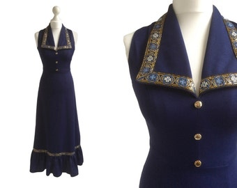 70's Maxi Dress - Long 1970's Vintage Dress - XS - Navy Blue With Gold Brocade Trim Collar