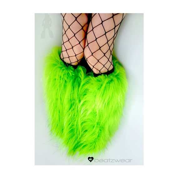 Green fluffies - MADE TO ORDER // lime green glitter fluffies // glitter fluffies // uv // neon green // green legwarmers // faux fur boots