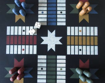Handmade Parcheesi Game Set, Black - Play or Display
