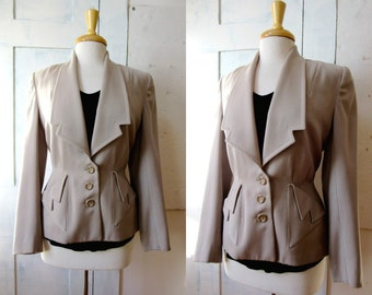 40s Taupe Gaberdine Wool Blazer - Suit Jacket - Front Pockets - Large Lapels - Fitted Waist