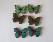 Set of 6 Butterfly buttons Dark Green and Turquoise Blend