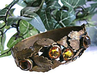 Topaz Glass Stones Bracelet, Side Hinged Cuff Vintage Brass with Etched Leaf Overlay, Czech Era