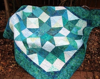 Quilt - Lap Quilt, Sofa Quilt, Quilted Throw - Turquoise and Teal Batik Star Lap Quilt