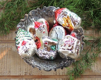 West Germany Blown Glass Red and Silver Tree Ornaments Set of 6 Assorted Rare Ornaments Holiday Decor Tree Trimming Mercury Glass