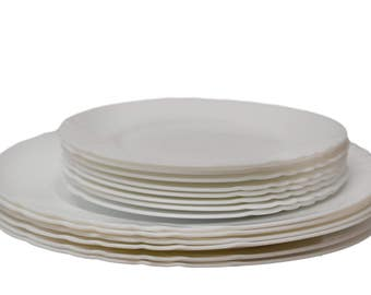 S/14 Arcopal Pyrex Dishware - White Milk Glass (6 Dinner Plates; 8 Salad Plates)