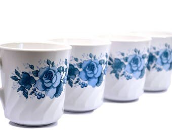 s/4 CorningWare Mugs Blue Velvet Rose on White - Coffee Cup - Swirl