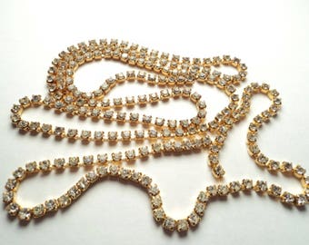 197 inches - Gold plated 2.5mm  Rhinestone Chain assorted lengths - m43