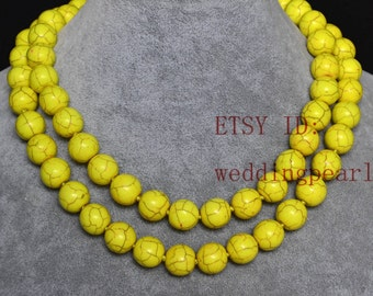 yellow turquoise necklace,12mm single strand long turquoise bead necklace,man-made turquoise jewelry,wedding necklace,statement necklace