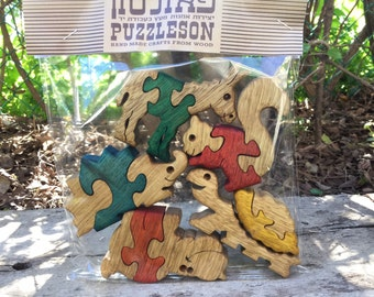 Personalized baby package, wooden puzzle set of 5, choose any 5 Baby animals, puzzles ,solid wood puzzle, handmade, jigsaw puzzle, wood toy.