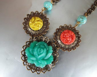 carved  antique glass button celluloid buttons  brass filigree necklace 20""