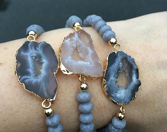 Druzy Geode Bracelets, boho jewelry, Druzy Bracelets, agate sliced
