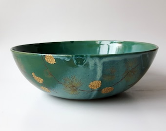 Ceramic Serving Bowl in Green with Pine Branches and Gold Pine Cones, Deep Fruit Bowl, Salad Bowl by Cecilia Lind, StudioLind