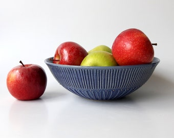 Ceramic Serving Bowl in Sapphire Blue with Sparks of 24k Gold, Salad Bowl, Fruit Bowl by Cecilia Lind, StudioLind