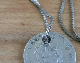 Handmade Panama coin necklace , world coin necklace , centesimos coin , small coin necklace