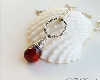 Red Garnet Necklace With Circle Sterling Silver Wire Wrapped Gemstone January Birthstone Dainty Simple Jewelry Birthday Gift For Her