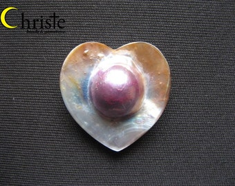 Rainbow Blister Red Mabe Pearl Cabochon Heart Teardrop 30x33mm