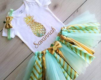 Mint and Gold Theme Tutu Set/1st Birthday Outfit/Baby Girl Pineapple Tutu Outfit/Hawaiian Tutu Outfit