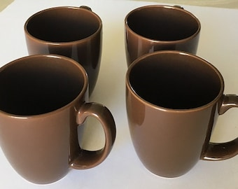 Vintage Corelle Stoneware Mugs, four brown coffee cups, cocoa cups, earthtone tea mugs, vintage kitchenware dinnerware
