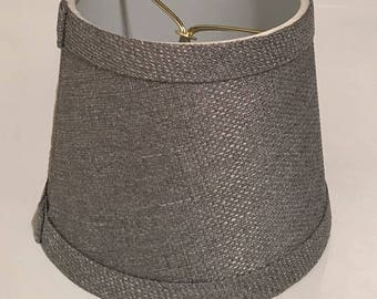 Vintage Gray Fabric Lamp Shade, 2 available, textured fabric replacement shade for small desk lamp,  clip on light cover, project materials