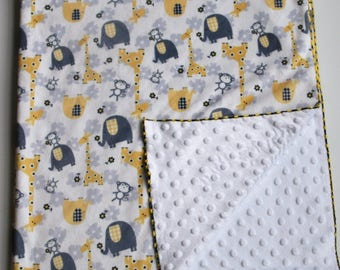 Gray and Yellow Animals Double Sided Minky Baby Blanket