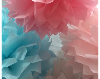 16 Tissue Paper Pom Poms-- ChooseYour Colors-- Wedding/ Nursery/ Baby Shower/ Graduation Decorations