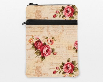 "iPad Pro 9.7"" Cover, Kindle Fire HD 8.9"" Sleeve, iPad Mini Padded Bag, Samsung Galaxy Tab Cover, Kindle Oasis Case - shabby chic rose script"