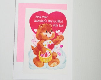 Care Bear repurposed vintage Valentine's Day card