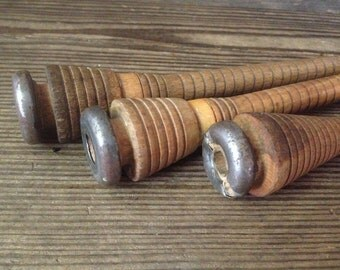 French Wood Weavers Loom Spindles Bobbins Textiles Set of 3
