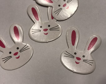 9 LARGE Bunny Head confetti / sequins, 24 x 30 mm (36)
