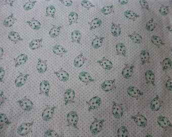1 yard 1920s reproduction print fabric, green baby face