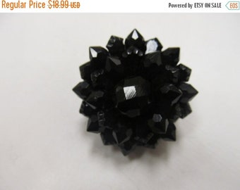 On Sale 2 Pc Black Facetted Crystal Pin and Earrings Set Item K # 1796