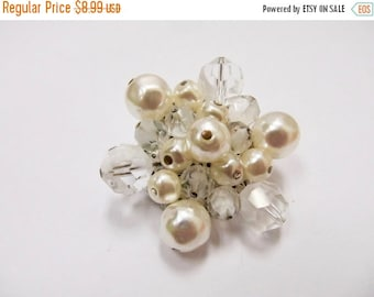 On Sale Vintage Facetted Glass and Faux Pearl Cluster Pin Item K # 2655