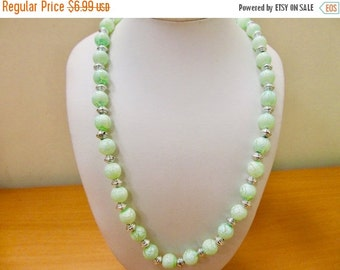 On Sale Vintage Distressed Mint Green Plastic and Silver Tone Beaded Necklace Item K # 2783