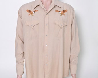 Vintage Men's Western Shirt Pearl Snap with Embroidered Eagles XL