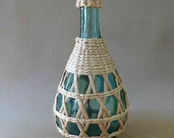 Vintage Wicker Covered Seeded Bottles Ratan Woven Demi John Demijohn Bottle