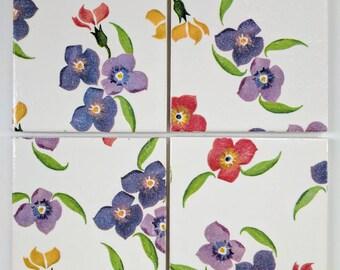 Ceramic Coasters in Emma Bridgewater Wallflower Purple